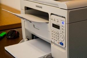 printer, desk, office